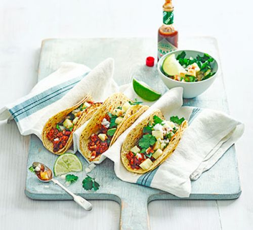 Chipotle chicken tacos with pineapple salsa
